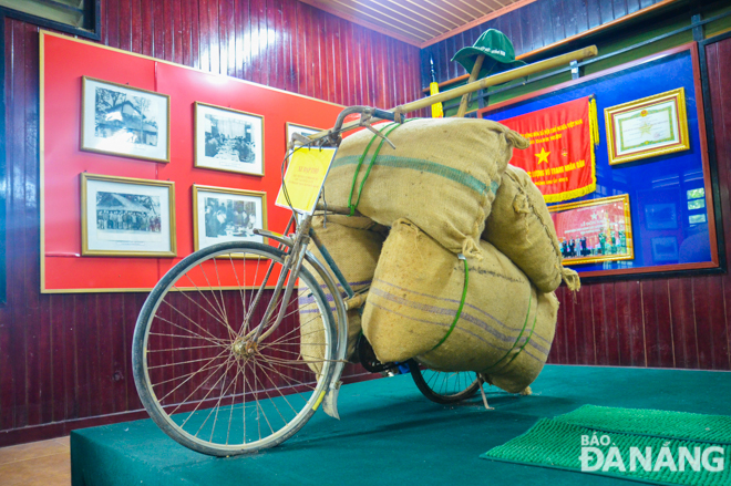 Here is a bicycle used to transport military supplies during the war
