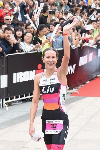 Radka Vodickova celebrates after finishing the women's division of the TECHCOMBANK IRONMAN 70.3 Vietnam 2019 (Photo: organising board)