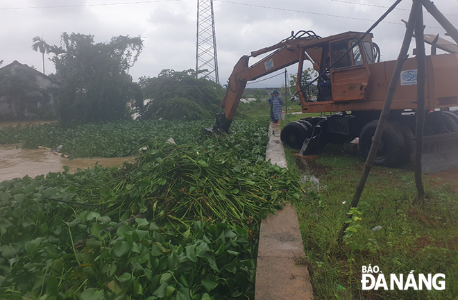 Functional bodies in Hoa Tien Commune clearing drainage ditches, and collecting water hyacinths and rubbish at rainwater inlets on road surface, in order to ensure efficient drainage of rainwater.